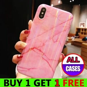 *NEW iPhone Max/XR/XS/X/7/8/Plus Pink Marble Case